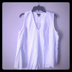 Asymmetric black and white pinstripe shirt